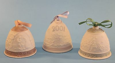 VIintage LLADRO BELLS Three Years 1991 1992 2001 Nice Condition Must See