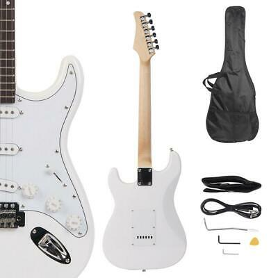 New White School Music Electric Guitar Set w/ Gig Bag Strap Cord for Beginner