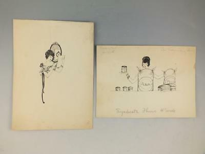 2 Pen And Ink Advertising Illustrations Signed H. Fuller