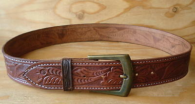 Vintage Hand Tooled & Painted Wide Brown Leather Western Belt & Buckle Size 36
