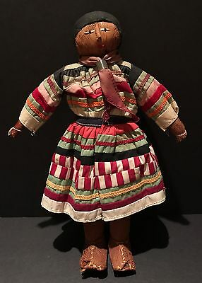 "Fab c1930 FLORIDA PALM & STITCHED PATCHWORK MALE SEMINOLE DOLL,10.5"" H,MINT,NOTE"