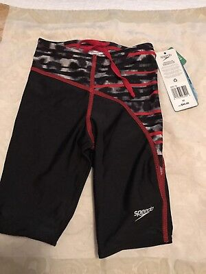 Speedo Boys Swim Shorts Jammers Black Red White  Youth Size 22 NWT $49.00