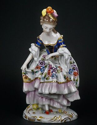 Beautiful Dresden Carl Thieme German Hand Painted Porcelain Lady Figurine
