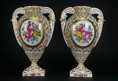 Antique Sevres Limoges Hand-Painted Pair of Gorgeous Porcelain Urns