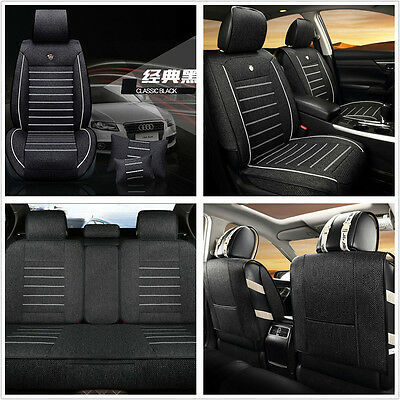 Breathable Black Linen Fabric Deluxe Edition Car Seat Covers Cushion Pillows Kit