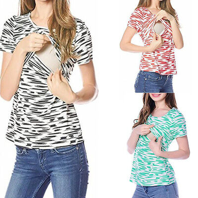 USA Womens Maternity Tops Breastfeeding Clothes Nursing Tank Top Blouse Fashion