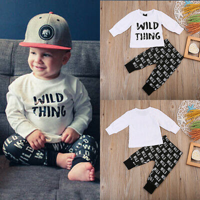 Baby Boys Girls Cotton T-shirt Tops+Long Pants Outfits Set Infant Clothes 0-6M 2