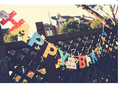 Colorful Letter Happy Birthday Bunting Banner Paper Flag Kid Party Hanging Decor