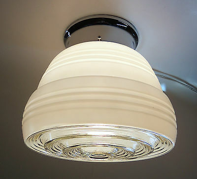 Vintage White Glass and Chrome Ceiling Light Fixture Kitchen Hall Entry