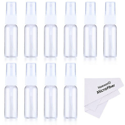 Neewer 10-pack Empty Clear Plastic Fine Mist Spray Bottles with Cleaning Cloth