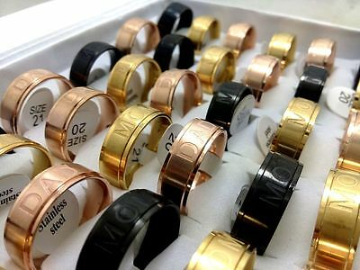 wholesale 30 etch mix DAD MOM fashion Stainless steel Rings  Jewelry lots gift
