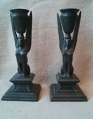 Antique Egyptian Revival Style Bronze Bronzed Metal Candlesticks Candle Holders