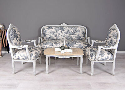 french suite sofa armchairs 2 gold damask ornate antique style chair louis chic. Black Bedroom Furniture Sets. Home Design Ideas