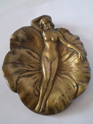 Stunning Art Nouveau Brass Trinket Dish Nude Lady Resting On A Water Lily Design