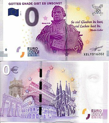 0 euro banknote souvenir Martin Luther 2017 europe germany reformation church