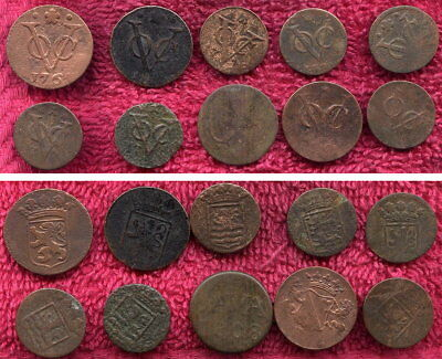 10 Netherland East Indies V.O.C. Coins 1700s and1800s Low Grade
