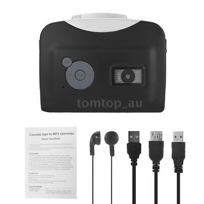 New Tape to PC USB Cassette-to-MP3 Converter Audio Portable Music Player Black