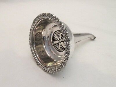 A Good 19th Century Silver Plated Wine Funnel - Lovely Star Shaped Grill