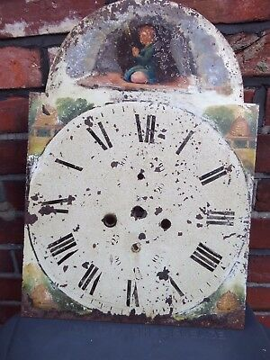 PAINTED GRANDFATHER CLOCK DIAL For REPAIR OR ALTERNATE ART