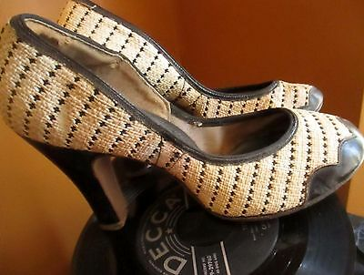6 AA 6AA True Vtg 40s Woven Hatched Tweed Swing Pumps by VOGUE