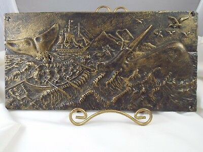 Vintage High Relief Long Ago Whale Hunt Moby Dick Era