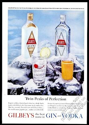 1961 Gilbey's gin and vodka bottle color photo vintage print ad