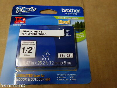 """Brother 1/2"""" (12mm) Black on White P-touch Tape for PT-D200 Label Maker TZe-231"""