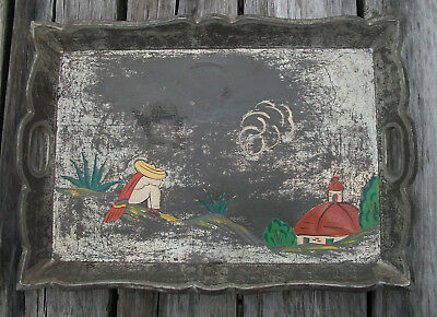 Primitive Siesta Serving Tray Wood Covered with Metal Rectangle Vintage Nr