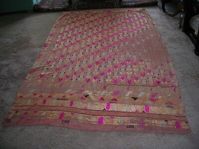 Old Silk Embroidered Cotton Curtain Or Hanging
