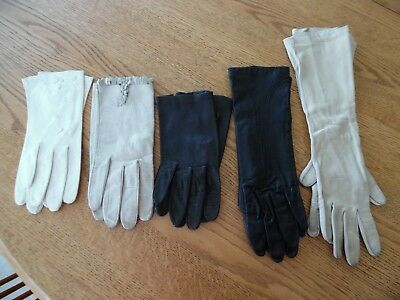 Lot of 5 Pairs Of Vintage Leather Ladies Gloves.