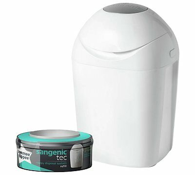 Tommee Tippee Sangenic Tec Nappy Disposal Tub (White) with one re-fill