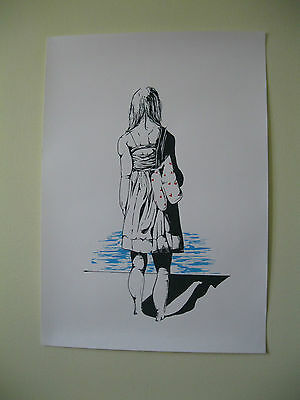 BANKSY PRINT original drawing SCREENPRINT BALLOON GIRL landscape art poster