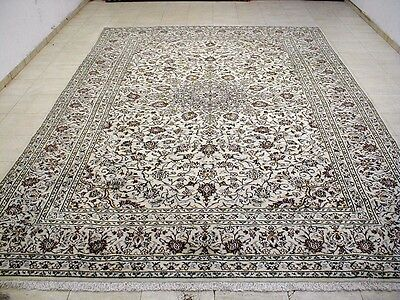 8X11 Breathtaking Masterpiece Hand Knotted Kork Wool Ivory Kashan Persian Rug
