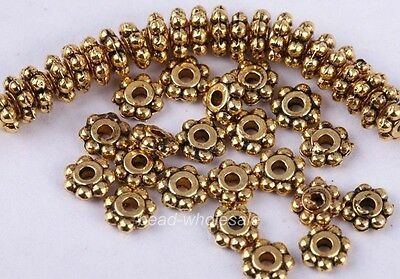 100Pcs Antique Gold Tone Daisy Flower Spacer Beads For Craft DIY 6mm