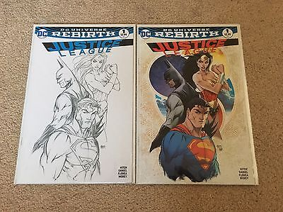 Justice League #1 Rebirth Aspen Comics Michael Turner Colour B&W Variant DC