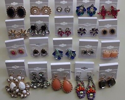 Wholesale Lot of 20 Pairs of Earrings Rhinestone Stud Dangle New #02