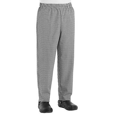 Chef Designs 5360 Baggy Chef Pants - Black/White Check Zipper Fly Large New
