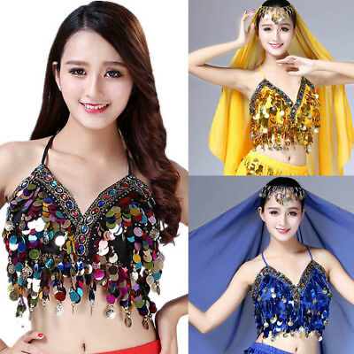 Backless Sequin Halter Top Salsa Belly Dance Boho Festival Clubbing Tribal Bra