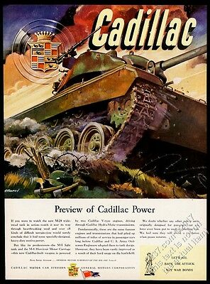 1943 Cadillac US Army M-24 tank WWII battle color art vintage print ad