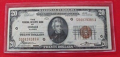 1929-20-NATIONAL-BANK-NOTE-From-The-Federal-Reserve-Bank-of-Chicago-Brown Seals