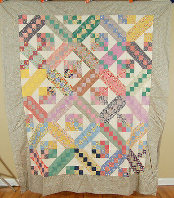 WELL PIECED 30's Jacob's Ladder Antique Quilt Top ~BEAUTIFUL VINTAGE FABRICS!
