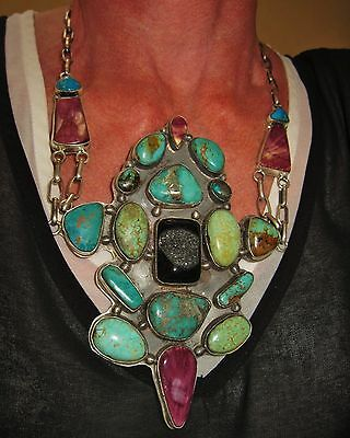 NAVAJO LYDIA BEGAY - TURQUOISE,ONYX,PURPLE SPINY OYSTER NECKLACE,150gr Dramatic!