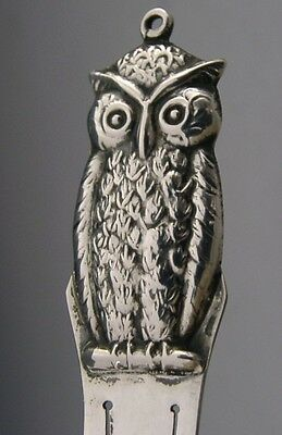 DANISH 830S SILVER NOVELTY STERLING SILVER OWL BOOKMARK c1930 ANTIQUE