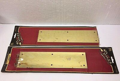 "Vintage Brass Door PUSH PLATES NEW Hardware set of 2 plate  3"" x 12"""