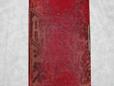 Antique Victorian Velvet Embossed Album Book Silver Clasp Gold Pages 31 Photos
