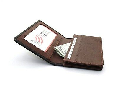Ili Leather Credit Card Case Holder ~ Black / Toffee ~ Business Card ~ New