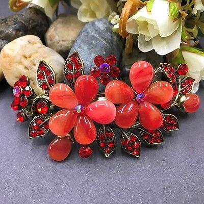 New Antique tone red rhinestone crystal flower hair clip barrette #52
