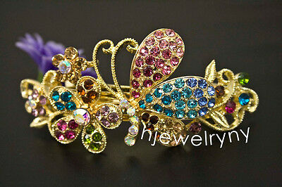 Sparkling Gold Tone Flower Rhinestone multi Color Hair Clip Barrette ha 12