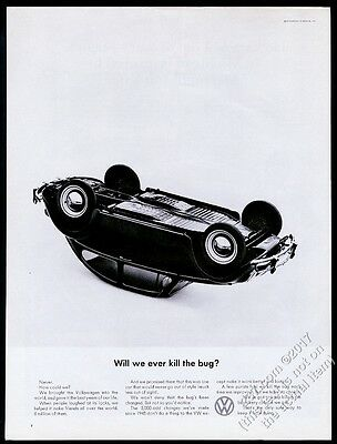 1965 VW Beetle classic car on it's roof photo Will We Ever Kill The Bug 13x10 ad