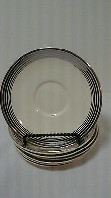 Set Of 7 Vintage Taylor Smith & Taylor Silver Platinum Ring Bands Saucers And